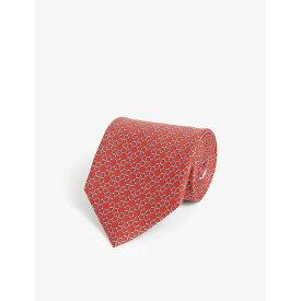 サルヴァトーレ フェラガモ SALVATORE FERRAGAMO メンズ ネクタイ 【Gancini link print silk tie】ROSSO