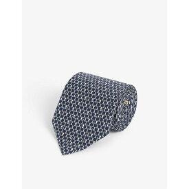 サルヴァトーレ フェラガモ SALVATORE FERRAGAMO メンズ ネクタイ 【Chess pattern silk tie】Navy Azzurro