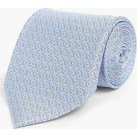 サルヴァトーレ フェラガモ SALVATORE FERRAGAMO メンズ ネクタイ 【Contrast Gianco silk tie】CIELO