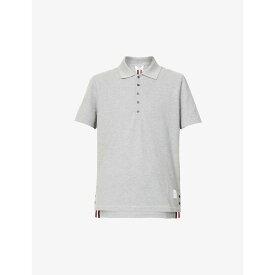 トム ブラウン THOM BROWNE メンズ ポロシャツ トップス【Striped cotton polo shirt】LIGHT GREY