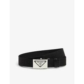 プラダ PRADA メンズ ベルト 【Logo-buckle nylon and leather belt】NERO