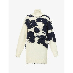 オフホワイト OFF-WHITE C/O VIRGIL ABLOH レディース ニット・セーター トップス【Moo turtle-neck cow-print wool-blend jumper】BEIGE BLUE