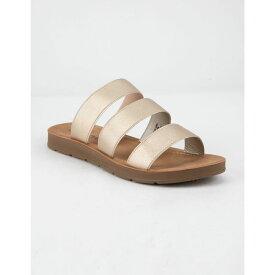 ソーダ SODA レディース シューズ・靴 サンダル・ミュール【Elastic 3 Strap Black Sandals】GOLD