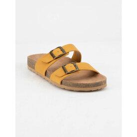 ソーダ SODA レディース シューズ・靴 サンダル・ミュール【Double Buckle Mustard Slide Sandals】MUSTARD