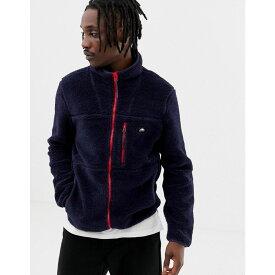 ペンフィールド Penfield メンズ トップス フリース【Honan borg fleece jacket contrast zip in navy】Peacoat