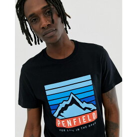ペンフィールド Penfield メンズ トップス Tシャツ【mountain chest logo print crew neck t-shirt in black】Black
