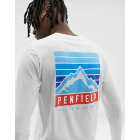 ペンフィールド Penfield メンズ トップス 長袖Tシャツ【mountain back logo print crew neck long sleeve t-shirt in white】White