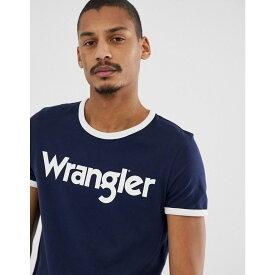 ラングラー Wrangler メンズ トップス Tシャツ【kabel retro large logo ringer t-shirt in navy】Navy