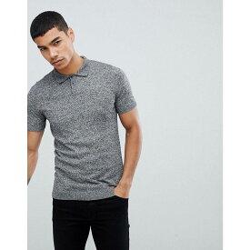 エイソス メンズ トップス Tシャツ【ASOS Knitted Polo in Muscle Fit】Black & white twist