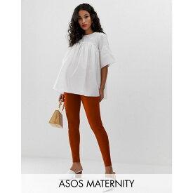 エイソス ASOS Maternity レディース インナー・下着 スパッツ・レギンス【ASOS DESIGN Maternity legging in textured crinkle】Rust