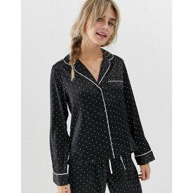 エイソス ASOS DESIGN レディース インナー・下着 パジャマ・トップのみ【satin spot pyjama shirt】Black