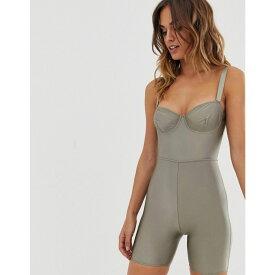 エイソス ASOS Tall レディース インナー・下着 ボディースーツ【ASOS DESIGN Verlee high shine underwire legging short bodysuit】Khaki