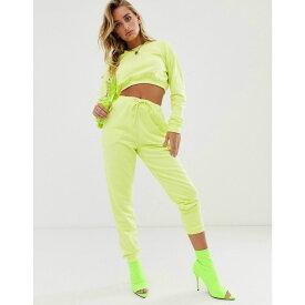 エイソス ASOS DESIGN レディース ボトムス・パンツ ジョガーパンツ【tracksuit cropped sweat / slim jogger with tie in neon yellow】Neon yellow