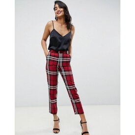 エイソス ASOS DESIGN レディース ボトムス・パンツ クロップド【ultimate cigarette cropped trouser in red check】Check