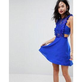 エイソス レディース ワンピース・ドレス ワンピース【ASOS Lace Pinafore Mini Dress】Cobalt