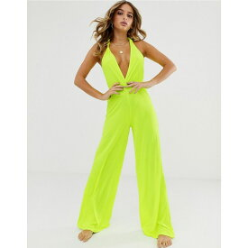 エイソス ASOS DESIGN レディース ワンピース・ドレス オールインワン【neon yellow plunge neck slinky jersey beach jumpsuit with twist back】Neon yellow