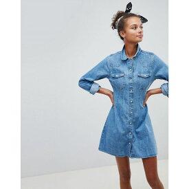エイソス ASOS DESIGN レディース ワンピース・ドレス ワンピース【denim fitted western shirt dress with seam detail in stonewash blue】Blue