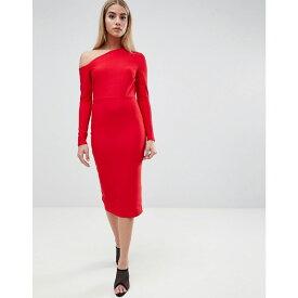 エイソス ASOS DESIGN レディース ワンピース・ドレス ワンピース【midi dress with sweeping neckline】Red