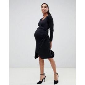 エイソス ASOS Maternity レディース ワンピース・ドレス ワンピース【ASOS DESIGN Maternity Slinky wrap tie midi dress】Black
