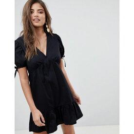 エイソス ASOS DESIGN レディース ワンピース・ドレス ワンピース【tiered cotton smock mini dress】Black