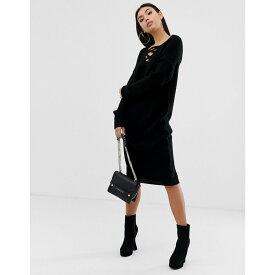 エイソス ASOS DESIGN レディース ワンピース・ドレス ワンピース【lace up knit midi dress】Black