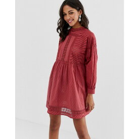 エイソス ASOS DESIGN レディース ワンピース・ドレス ワンピース【dobby high neck mini smock dress with lace trims】Red
