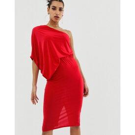 エイソス ASOS DESIGN レディース ワンピース・ドレス ワンピース【one shoulder drape pencil dress】Red