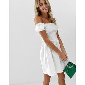 エイソス ASOS DESIGN レディース ワンピース・ドレス ワンピース【shirred bodice square neck cotton mini smock dress】White
