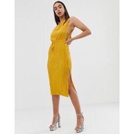 エイソス ASOS DESIGN レディース ワンピース・ドレス ワンピース【midi plisse dress with drawstring waist】Yellow