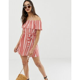 エイソス ASOS DESIGN レディース ワンピース・ドレス ワンピース【off shoulder pique stripe sundress with belt】Red stripe