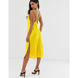 エイソス ASOS DESIGN レディース ワンピース・ドレス ワンピース【cami midi slip dress in high shine satin with strappy back】Bright yellow