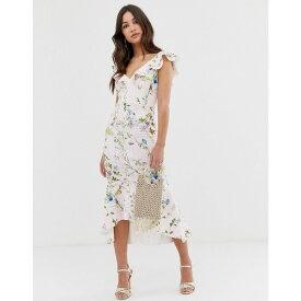 エイソス ASOS DESIGN レディース ワンピース・ドレス ワンピース【Stripe floral printed ruffle midi dress】Multi