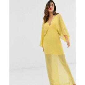 エイソス ASOS DESIGN レディース ワンピース・ドレス ワンピース【kimono maxi dress in linear sequin】Lemon yellow