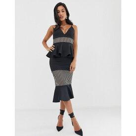 エイソス ASOS DESIGN レディース ワンピース・ドレス ワンピース【self stripe tiered ruffle detail midi dress】Black