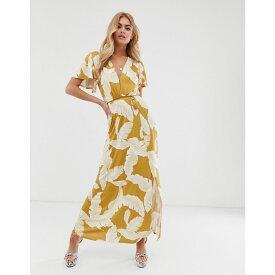 エイソス ASOS DESIGN レディース ワンピース・ドレス ワンピース【floral flutter sleeve maxi dress with tassel belt】Yellow floral