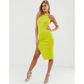 エイソス ASOS DESIGN レディース ワンピース・ドレス ワンピース【Scallop halter one shoulder midi dress】Yellow