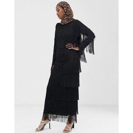 エイソス ASOS DESIGN レディース ワンピース・ドレス ワンピース【long sleeve fringe column maxi dress】Black