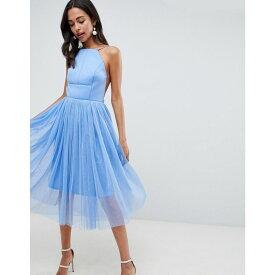 エイソス ASOS DESIGN レディース ワンピース・ドレス ワンピース【Premium Scuba Pinny Midi Tulle Dress】Blue