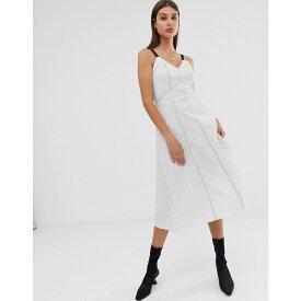 エイソス ASOS WHITE レディース ワンピース・ドレス ワンピース【stripe cotton jacquard cami dress】White