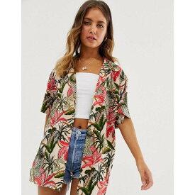 エイソス ASOS DESIGN レディース トップス ブラウス・シャツ【short sleeve open shirt in floral tropical print】Multi