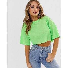 エイソス ASOS DESIGN レディース トップス ベアトップ・チューブトップ・クロップド【super crop t-shirt with raw edge】Neon green