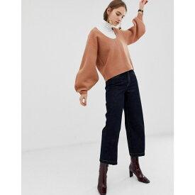 エイソス ASOS WHITE レディース トップス ニット・セーター【boiled wool banana sleeve knit jumper】Camel