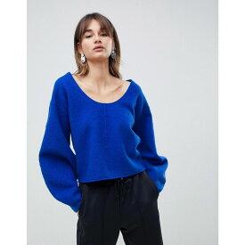 エイソス ASOS WHITE レディース トップス ニット・セーター【boiled wool banana sleeve knit jumper】Blue