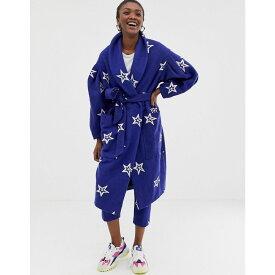 エイソス ASOS MADE IN レディース アウター コート【ASOS Made In Kenya star embroidered coat in wool mix】Blue