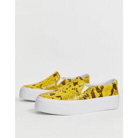 エイソス ASOS DESIGN レディース シューズ・靴 スリッポン・フラット【Deacon chunky slip on plimsolls in yellow snake】Yellow snake