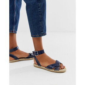 エイソス ASOS DESIGN レディース シューズ・靴 エスパドリーユ【Jiana espadrille sandals in croc】Navy croc