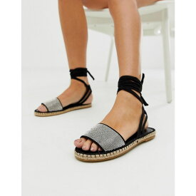 エイソス ASOS DESIGN レディース シューズ・靴 エスパドリーユ【Jamila diamante tie leg espadrille sandals】Black/silver