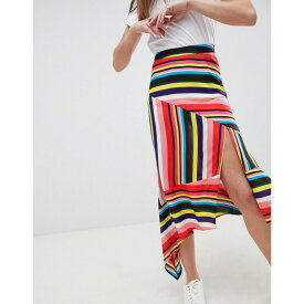 エイソス レディース スカート ひざ丈スカート【DESIGN asymmetric hem midi skirt in rainbow stripe print】Bright multi stripe