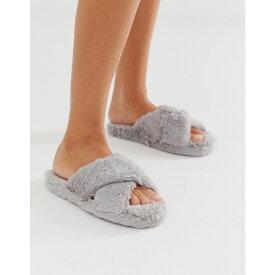 エイソス ASOS DESIGN レディース シューズ・靴 スリッパ【Neve cross strap slider slippers】Grey