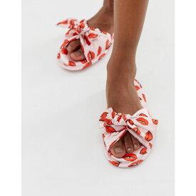 エイソス ASOS DESIGN レディース シューズ・靴 スリッパ【Nelma asymmetric bow slippers】Pink